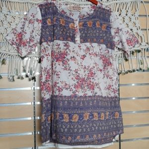 ♡Vintage Gypsy mixed floral tunic peasant tunic